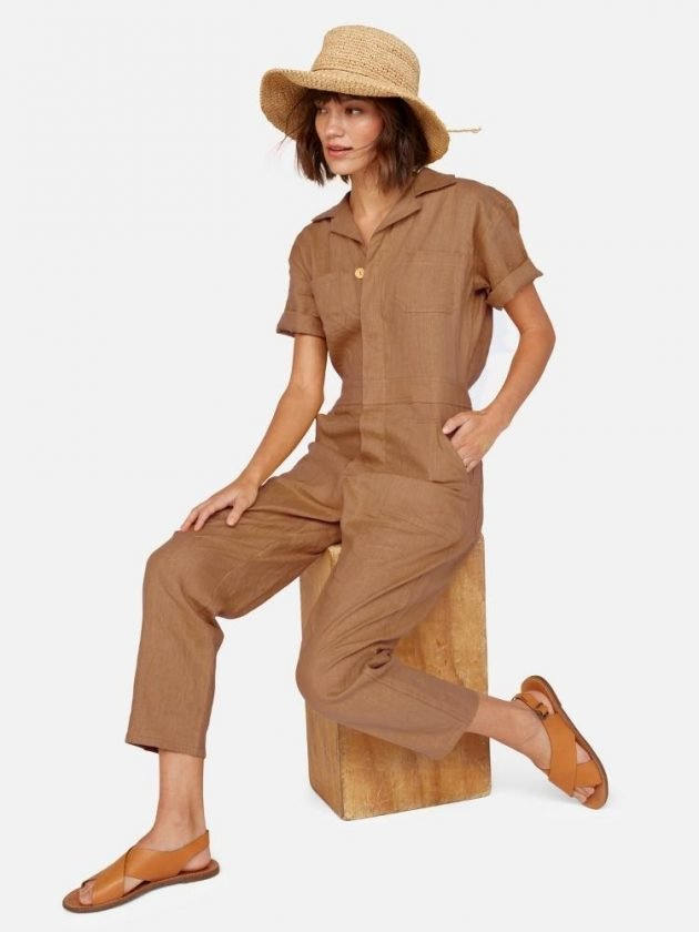 Eco-friendly light brown jumpsuit from Mate the Label