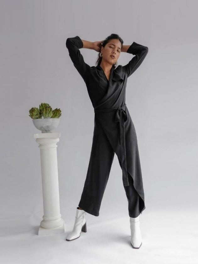 Sustainable black jumpsuit from OhSevenDays