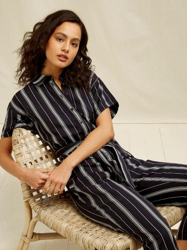 Fair trade black with white stripes jumpsuit