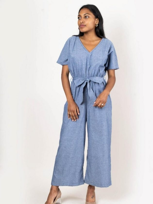 Ethical light blue jumpsuit from tonle