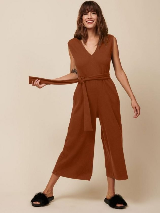 Eco-friendly dark orange jumpsuit from Whimsy + Row