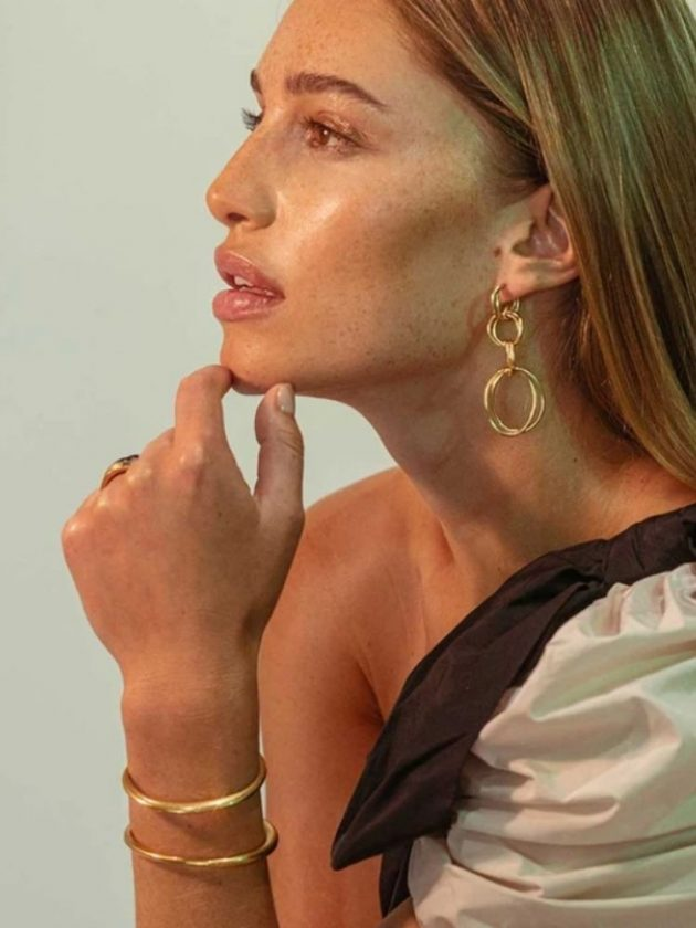 Gold ethical earrings and bracelet from Soko
