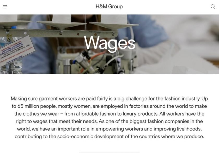 Screenshot of Wages page on H&M website