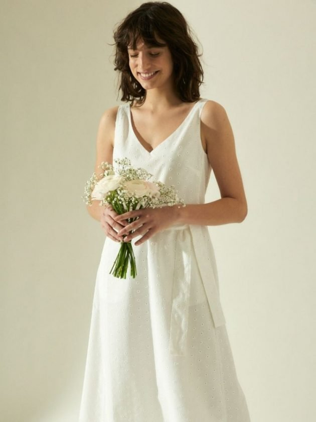 White dress made with all-natural materials from Lanius