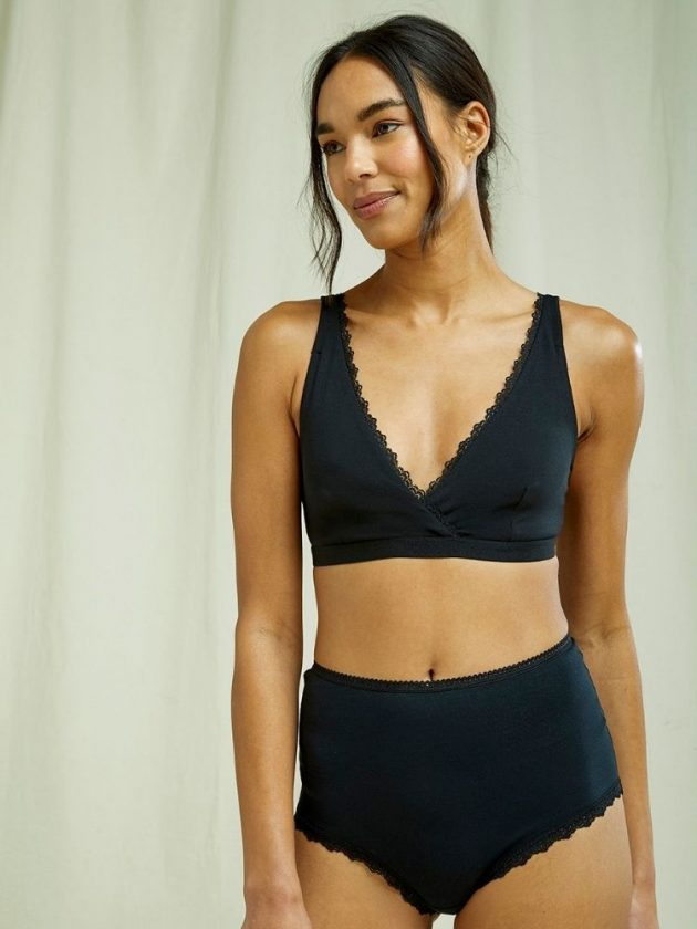 Organic and sustainable black underwear from People Tree