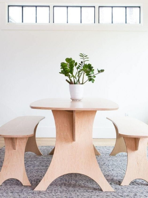 Sustainable table and benches from Simbly
