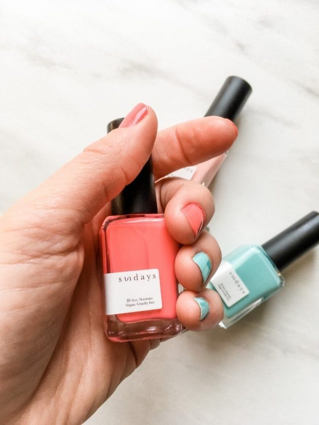 Vegan pink and blue nail polishes from Sundays