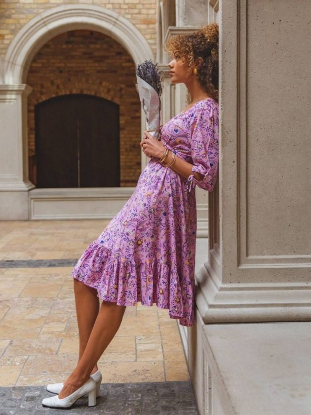 Pink flowy eco-friendly dress from Tamga DESIGNS
