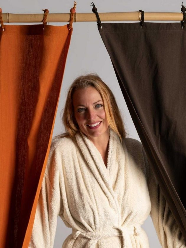 Orange and black eco-friendly curtains from Rawganique