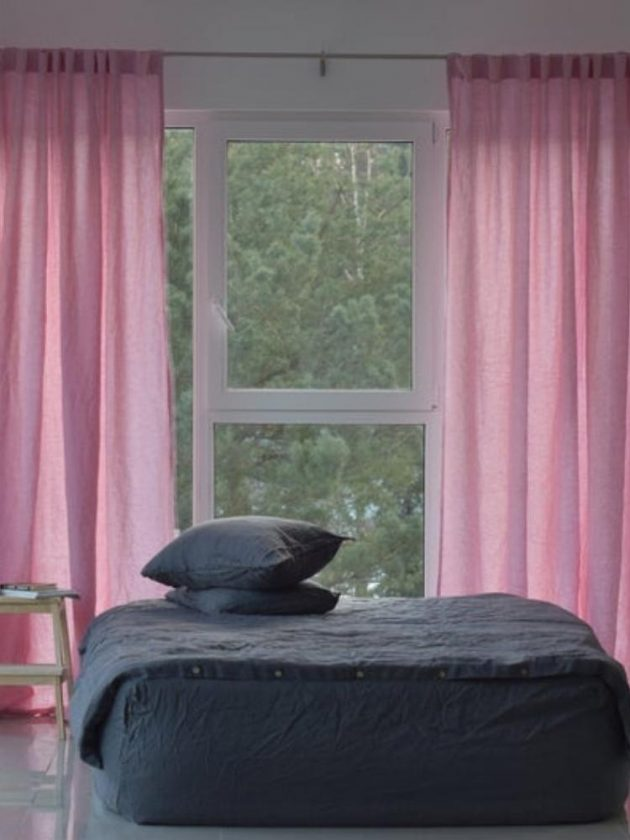 Pink organic and eco-friendly Linen  curtains from Prolinen