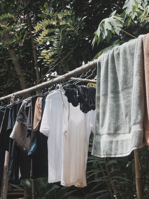 Air drying clothes to avoid microplastics and microfibers