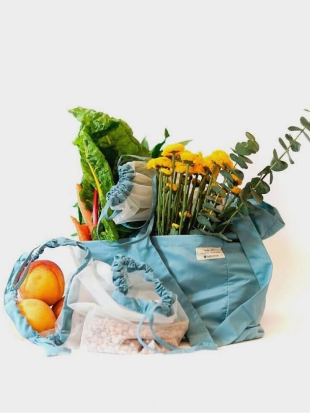 Zero Waste Reusable Market Tote Bag and Produce Bag Set