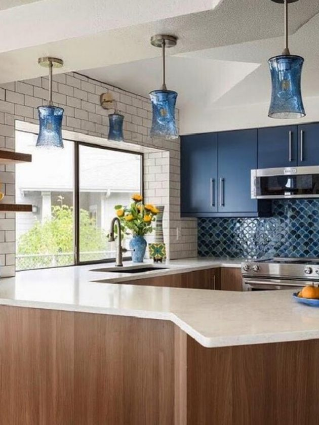 Sustainable recycled blue coloured glass pendant light from Bicycle Glass