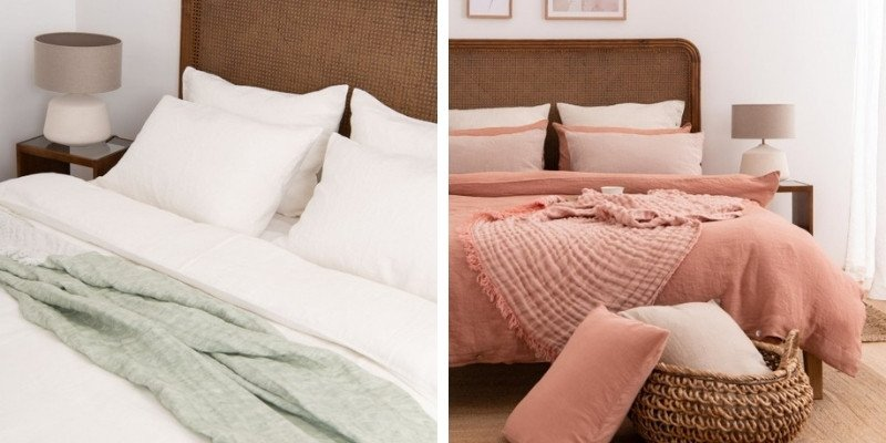 White linen bedding and coral linen bedding from SAUTHS