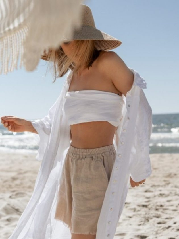White linen top and beige linen shorts