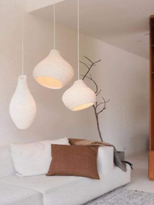 White sustainable pendants made from recycled cardboard