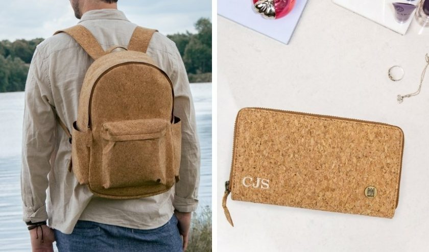 Eco friendly vegan backpack and purse made from cork