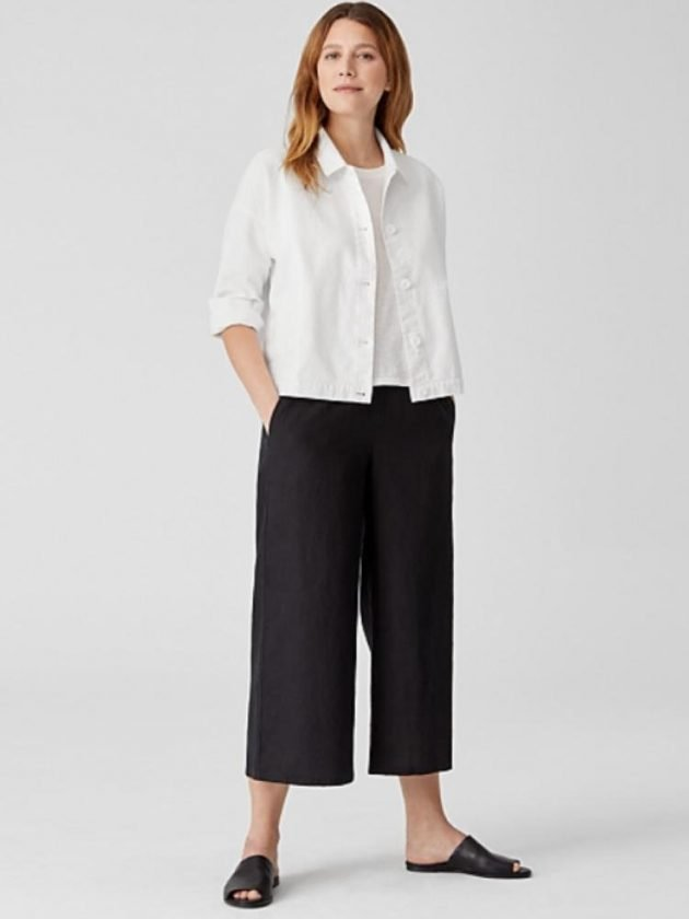 Ethical black and white workwear outfit from Eileen Fisher