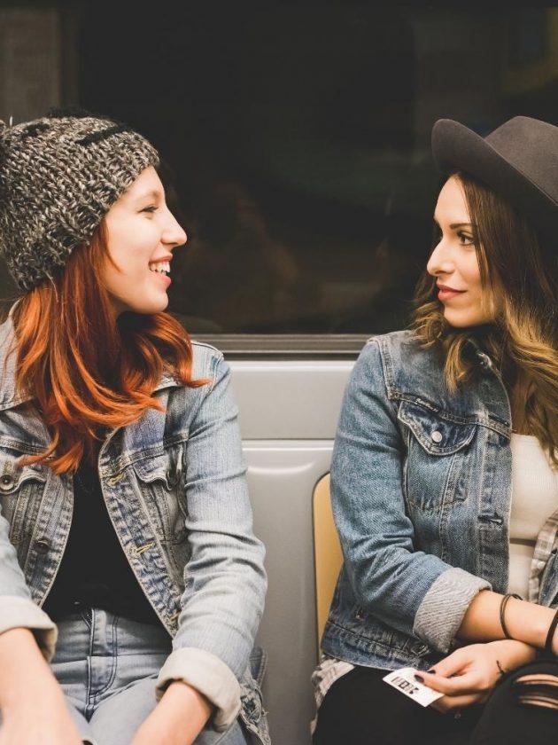 Two girls conversing