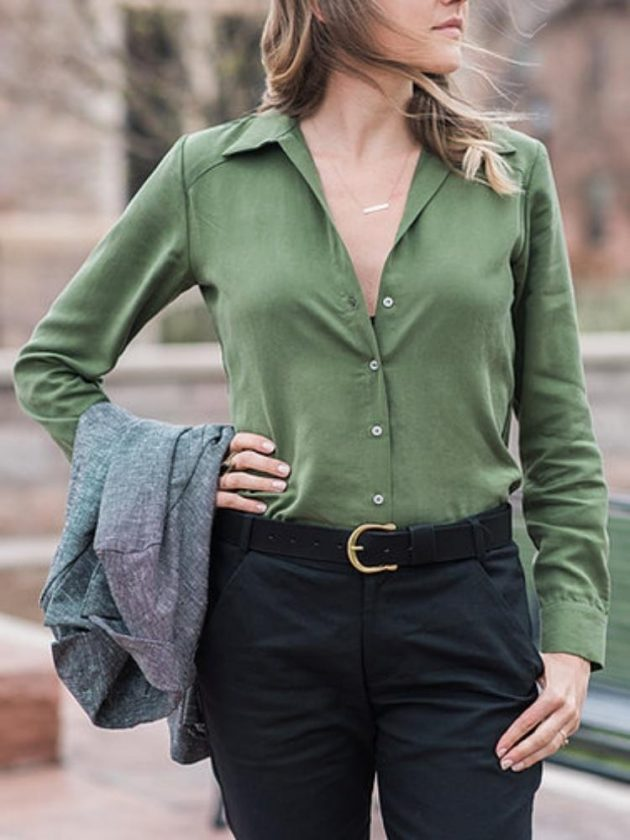 Ethical workwear outfit with green blouse from Jackie Lutze