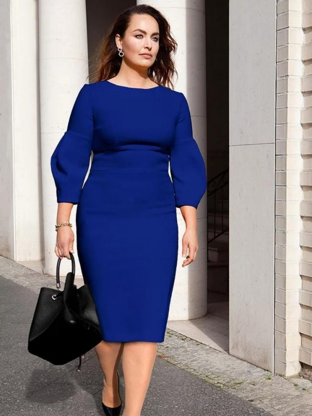 Ethical blue wear to work dress from J.Jackman