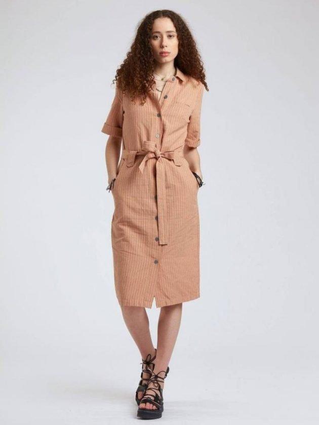 Ethical orange wear to work dress from Komodo