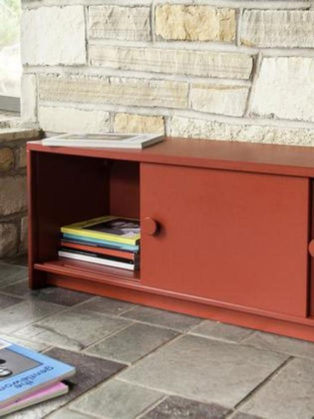 Red sustainable outdoor cupboard from Loll Designs