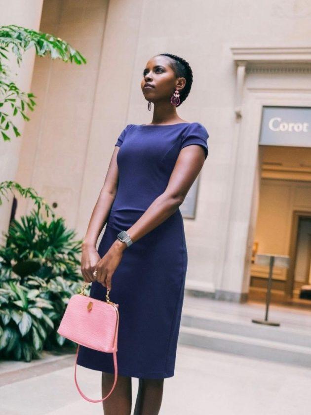 Ethical dark blue wear-to-work dress from Maven Women