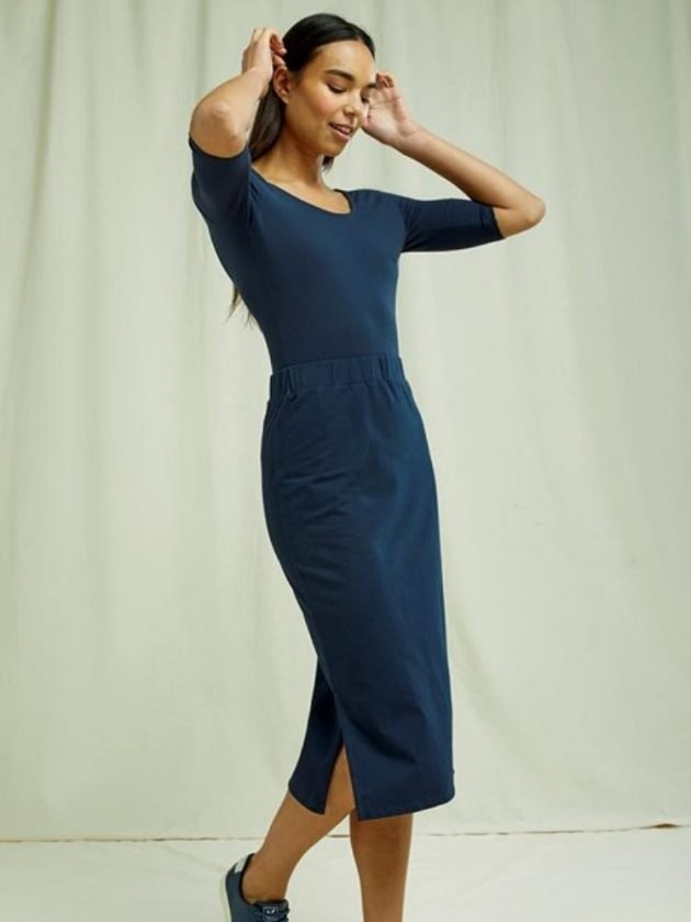 Sustainable blue wear to work dress from People Tree