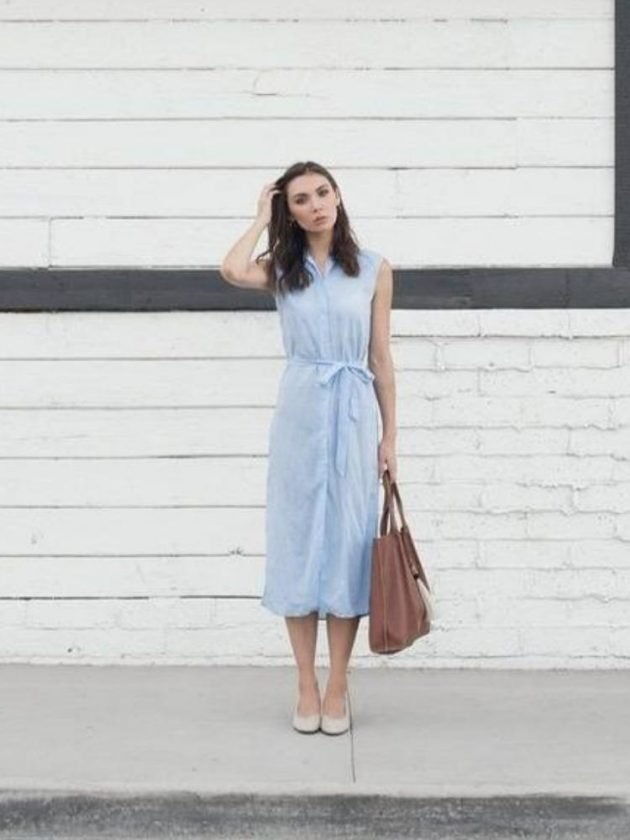 Sustainable light blue wear to work dress from Siizu