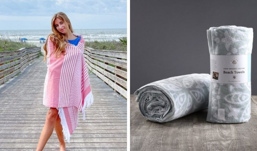 Organic cotton beach towels from Delilah Home