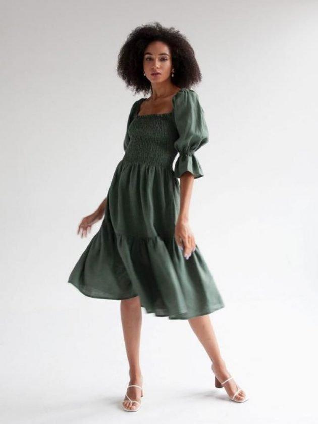 Woman wearing green linen dress
