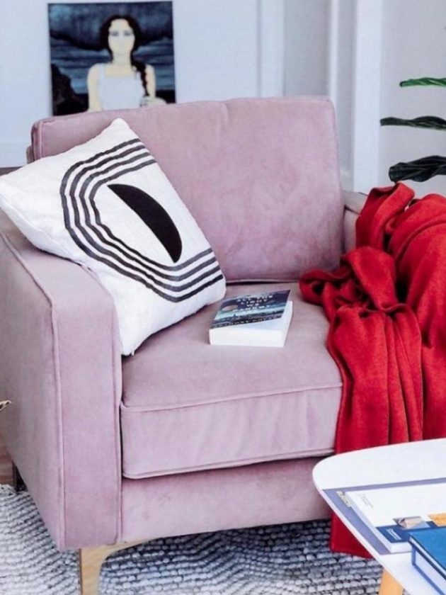 Non-toxic pink sofa chair from Burrow