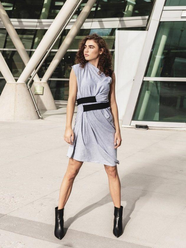 Woman wearing gray and black zero waste dress