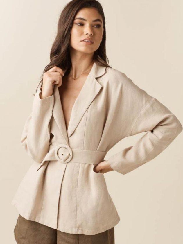Sustainable beige work blazer from VETTA