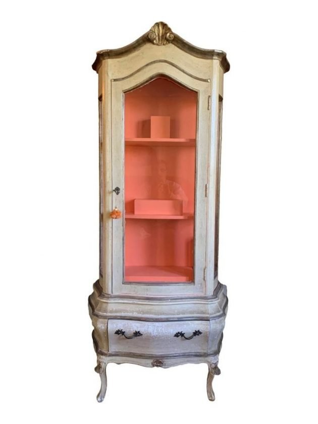 Sustainable Antique Italian Carved Gilt Wood and Glass Display Cabinet from Chairish