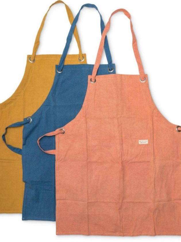 Yellow, blue and pink sustainable aprons from Full Circle Home