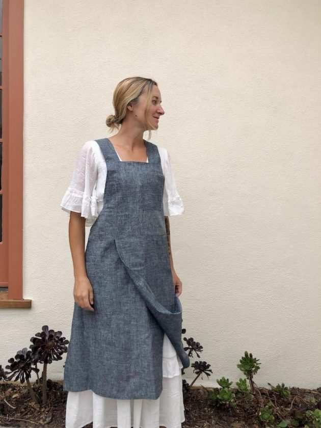 Sustainable Blue Split X Smock Apron from Portland Apron Company S